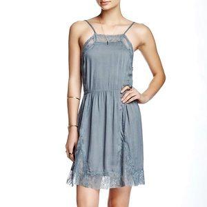NWT Free People Vapor Blue Lace Inset Swing Dress
